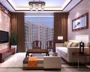 现代中式风格客厅窗帘装修效果图