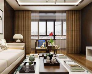 中式风格客厅窗帘装修效果图