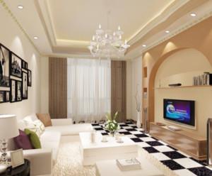 80平现代简约客厅窗帘效果图