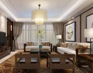 现代中式客厅窗帘装修效果图