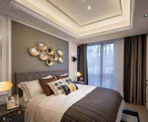 现代简约卧室窗帘布置效果图