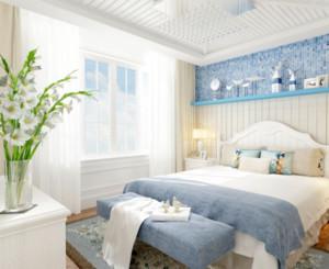地中海风格卧室窗帘装修布置效果图