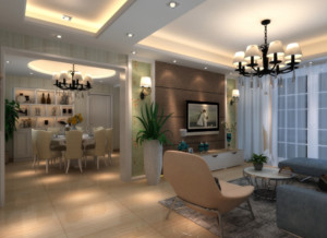 家装美式风格餐厅装修效果图