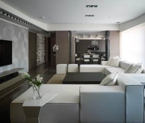 90平现代简约风格客厅沙发装修布置效果图