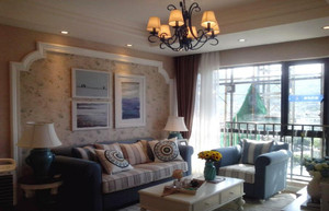 现代中式客厅吊顶装修设计效果图
