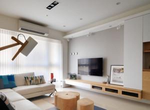 90平现代简约客厅电视柜摆放效果图