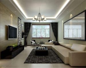 80平现代简约客厅吊灯装修效果图