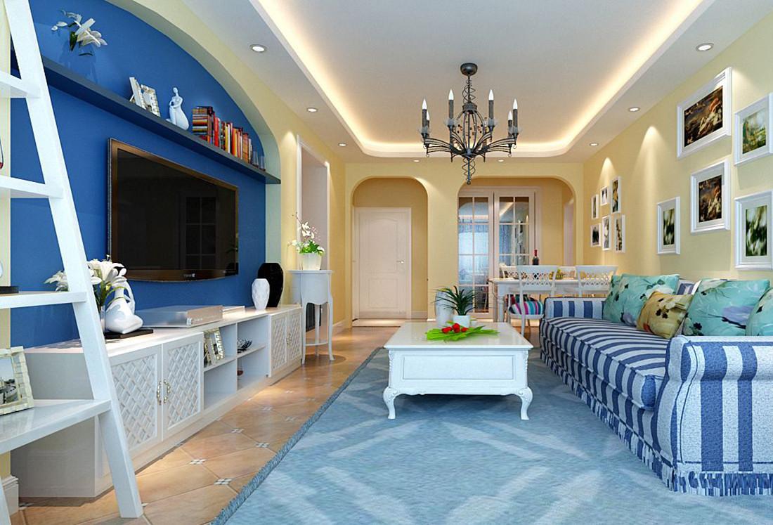 地中海风格客厅装修实景图