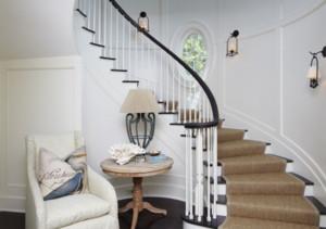 欧式风格别墅实木旋转楼梯装修效果图