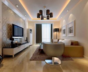 浅金色系小户型客厅装修效果图