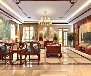 中式豪華風格客廳裝修效果圖