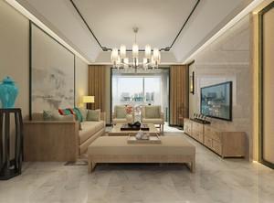淺色系中式客廳裝修效果圖