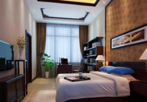 現代中式臥室背景墻裝修圖片