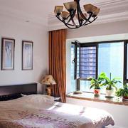 现代两居室卧室飘窗装修效果图
