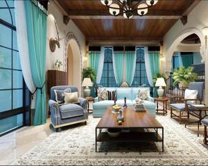 地中海风格别墅客厅窗帘效果图