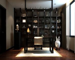 中式复古书房装修效果图