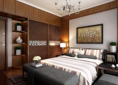 中式臥室背景墻裝修布置圖片