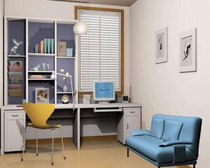 电脑房书房一体装修效果图