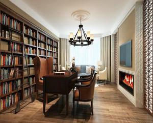 美式简约书房效果图