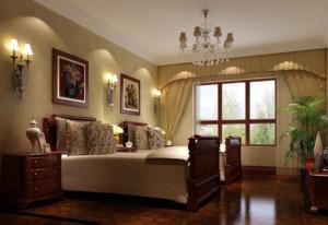 现代美式卧室背景墙装修图片
