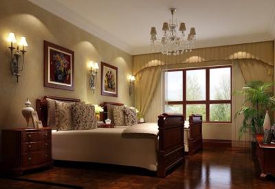 現代美式臥室背景墻裝修圖片