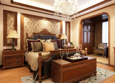 中式美式風格臥室背景墻圖片
