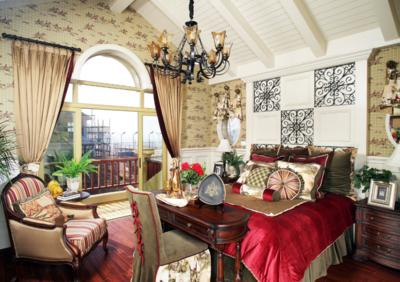美式臥室背景墻裝修效果圖