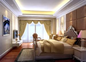 70平欧式风格卧室背景墙装修效果图