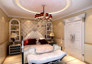 现代欧式风格卧室背景墙装修图片
