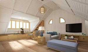 日式阁楼空间休闲客厅装修效果图