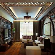 客厅中式背景墙80平米装修