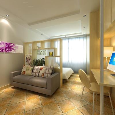 小户型阳台客厅卧室一体装修效果图