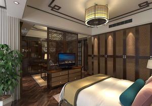卧室与书房中式隔断装修效果图欣赏