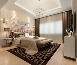 新中式风格卧室石膏线效果图