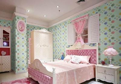 歐式臥室藍色壁紙裝修效果圖