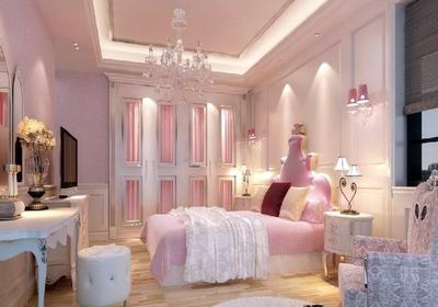 儿童房粉色壁纸装修效果图大全2019图片
