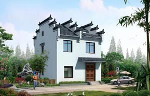 中式农村两层小别墅外观效果图