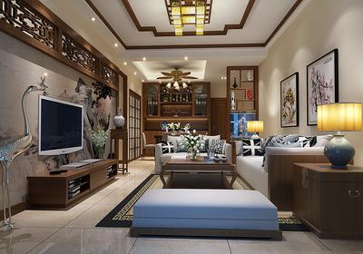 90平米三室一厅中式装修效果图大全