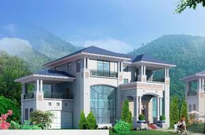 农村两层半小别墅前面柱子的效果图