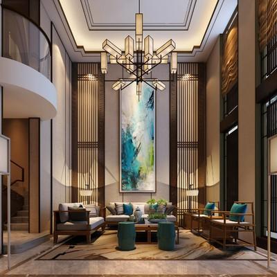 500平方米别墅会所新中式装修效果图