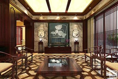 私人会所中式餐厅背景墙效果图