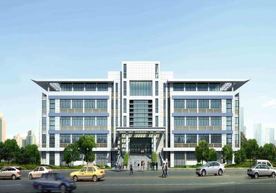 工厂办公楼效果图,工厂办公楼三层单面楼效果图