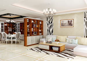 簡歐式客廳與餐廳一體裝修效果圖欣賞
