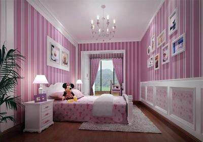 条纹儿童房壁纸装修效果图,小户型儿童房壁纸装修效果图