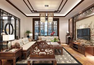 中式足彩导航小户型客厅电视背景墙效果图