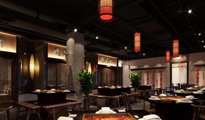 火锅店餐厅设计效果图,火锅店设计案例效果图