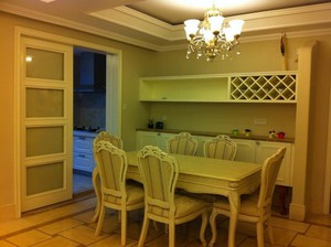 简欧厨房隔断门装修效果图,厨房隔断门带酒柜装修效果图