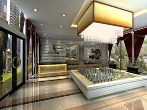 售楼部整套装修效果图,高端小区的售楼部内装修效果图