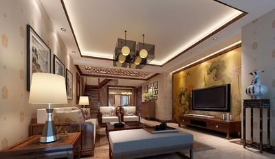 100平米房屋装修样板房,100平米新中式装修样板房