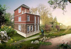 农村自建两层半小别墅外观效果图,农村两层半独栋小别墅外观效果图